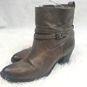 Frye Mid Calf Buckle Leather Booties sz.10